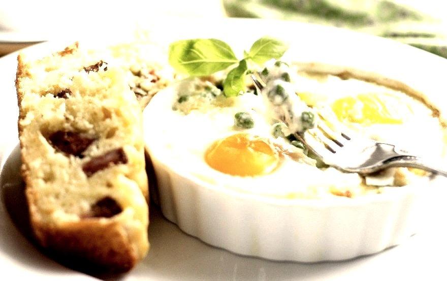 Pea, Basil And Parmesan Baked Eggs