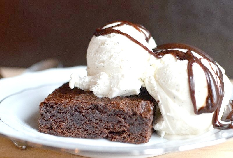 Chewy Brownies & Vanilla Ice Cream