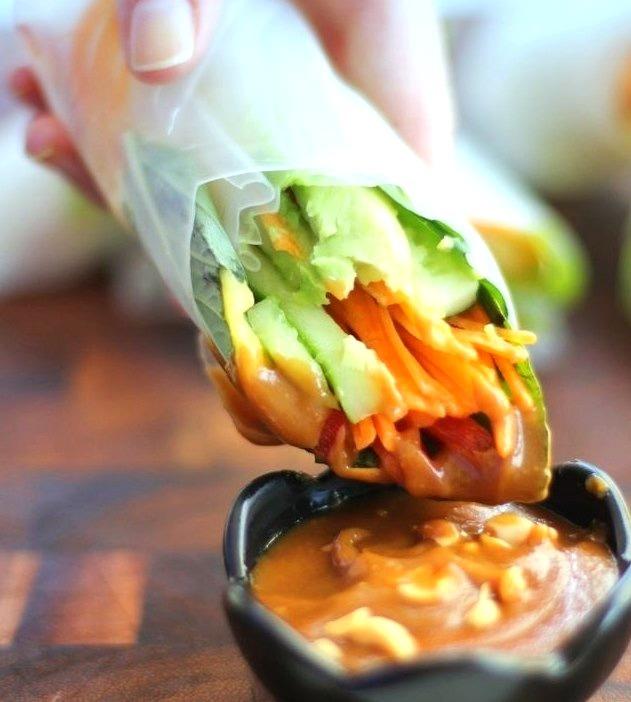 Vietnamese Summer Rolls with Hoisin Peanut Dipping Sauce (x)