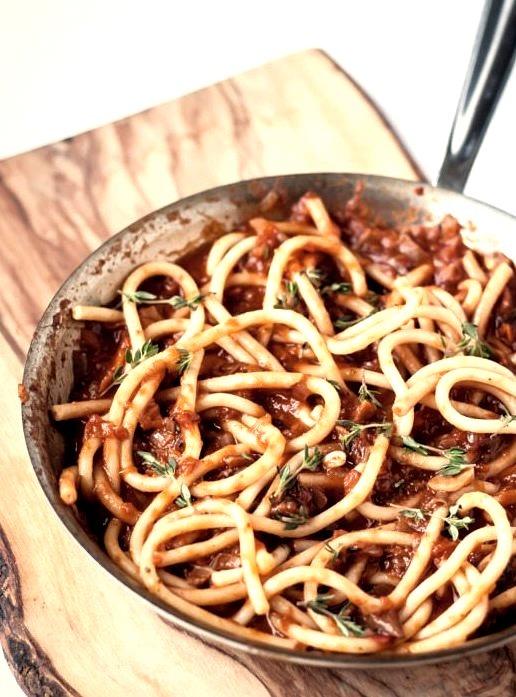Bucatini with Porcini Mushroom Ragu