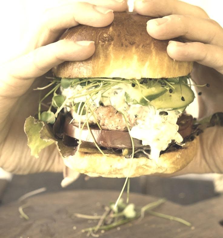 Sumac and Thyme Salmon Burgers Wild Greens and Sardines